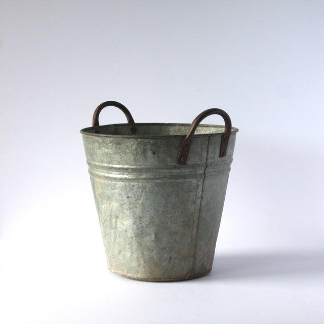 Vintage metal olive bucket chairish for Old metal buckets
