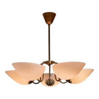 Swedish brass chandelier with five opaline glass shades, 1940s