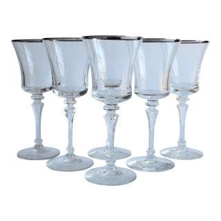 Silver Rim Cocktail Glasses, Set of 6
