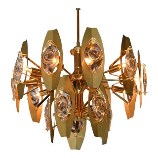 Brutalist Sonneman Brass and Cut Glass Chandelier
