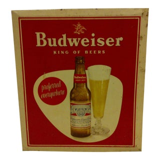 Vintage Tin Budweiser Beer Sign Circa 1940