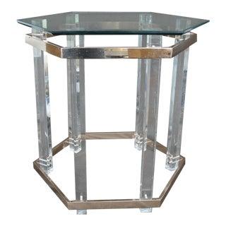 Charles Hollis Jones Brass & Lucite Side Table