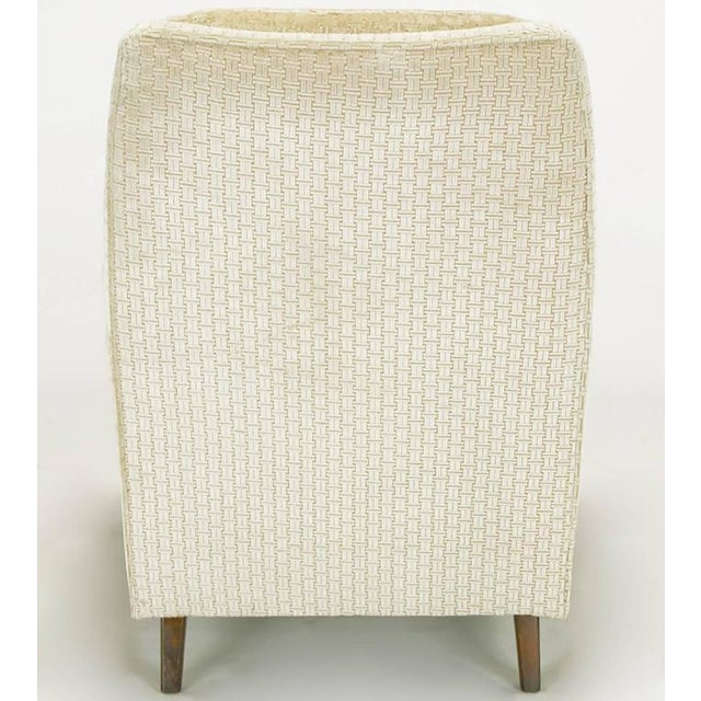 Pair of 1960s High Back Ivory Cut Velvet Lounge Chairs after Harvey Probber - Image 7 of 9