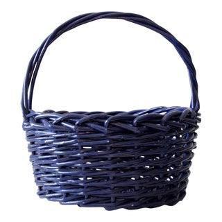 Vintage Blue Bentwood Basket