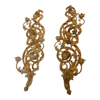 Italian Gilt Carved Wood Wall Sconces - A Pair
