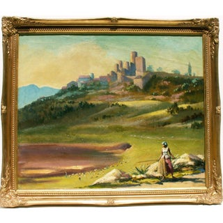 A Shepherdess in a Spanish Landscape Oil Painting
