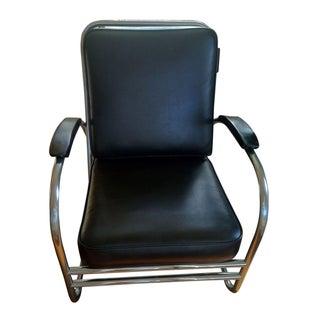 Mid-Century Chrome & Black Lounge Chair