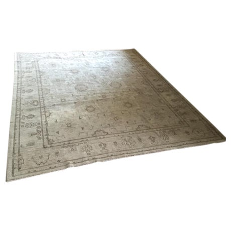 Hand Knotted Wool Oriental Neutral Rug - 8′ × 9′4″ - Image 1 of 4