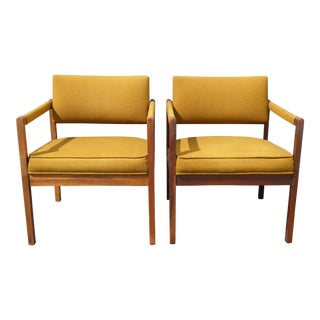 Danish Modern Yellow Accent Armchairs - A Pair