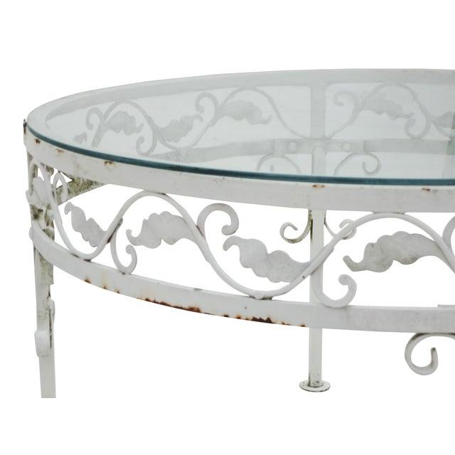Woodard Round White Iron Patio Coffee Table - Image 4 of 7
