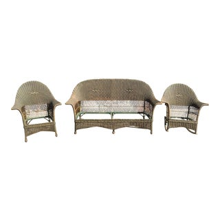 Antique American Chair Company Wicker Chairs & Loveseat - Set of 3