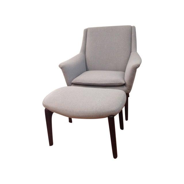 Danish Modern Upholstered Lounge Chair & Ottoman - Image 1 of 11