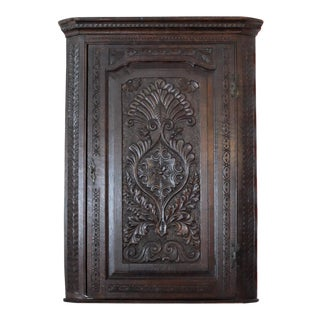 Antique English Oak Corner Cabinet