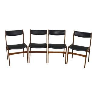 Danish Modern Teak & Black Leather Dining Chairs - Set of 4