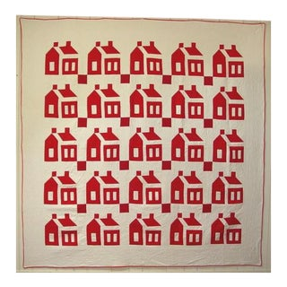 Schoolhouse Quilt with Crisp Red Houses
