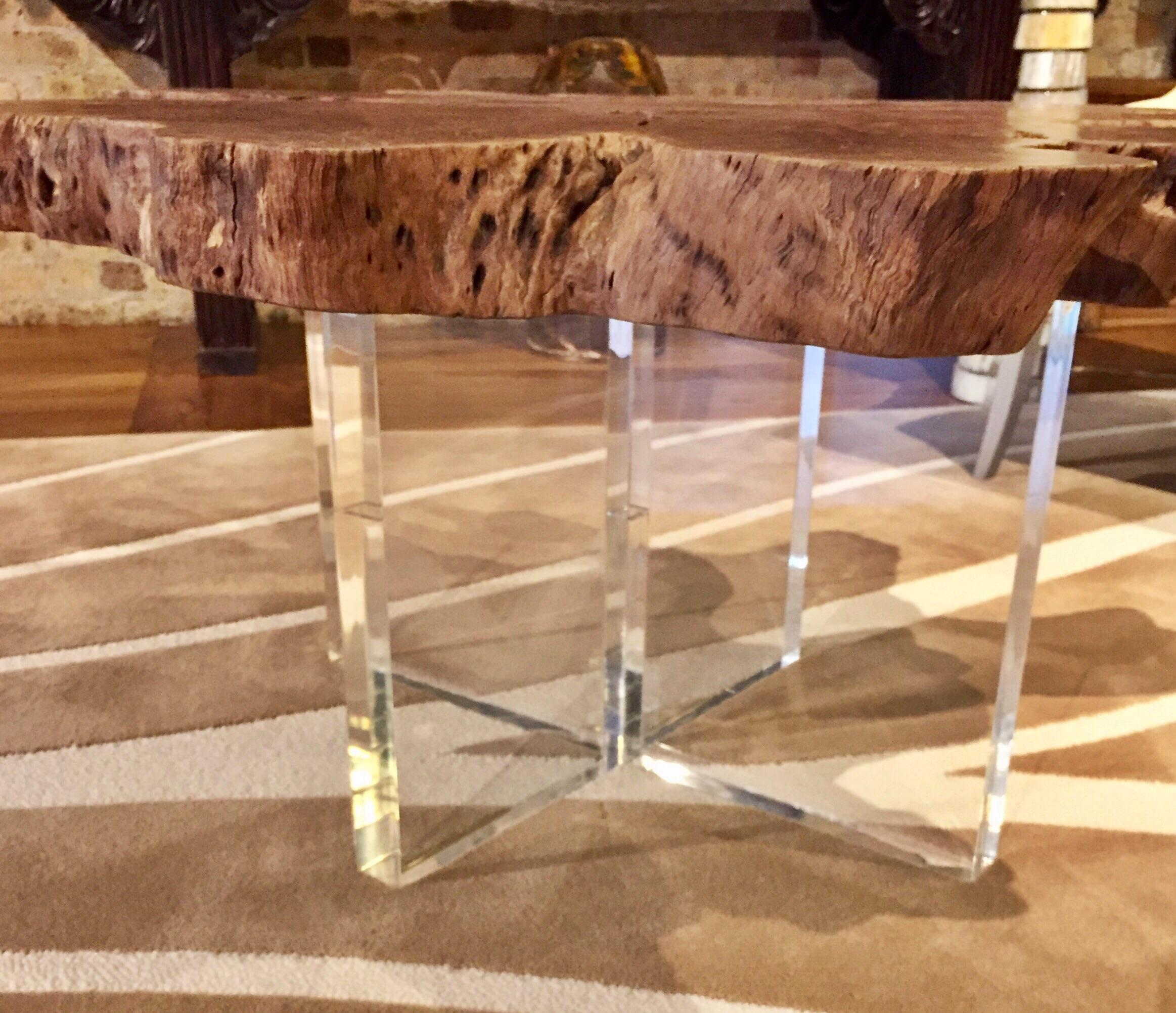 Star Root Coffee Table with Acrylic Base  Chairish