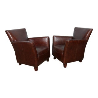 Modern Style Leather High Back Chairs - A Pair