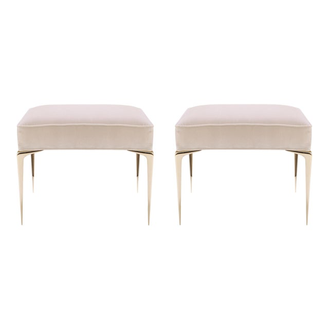 Customizable Colette Ottomans in Nude Velvet by Montage, Pair - Image 1 of 7