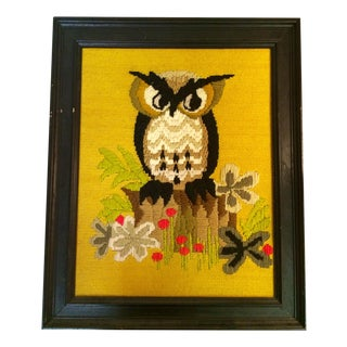 Framed Owl Yellow & Brown Needlepoint