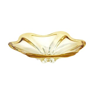Amber Glass Flower Shaped Bowl