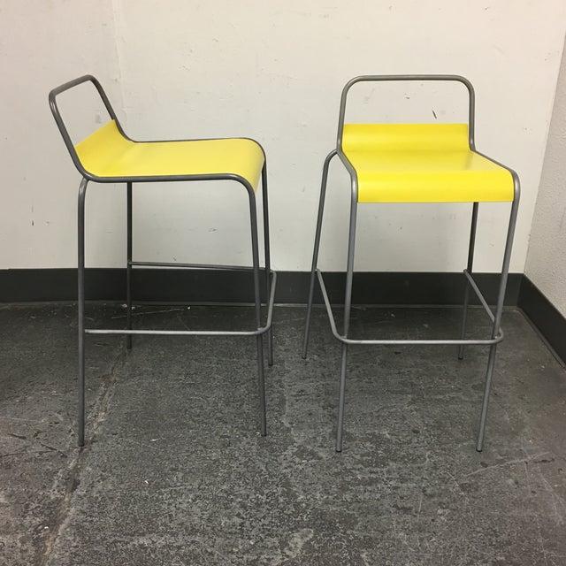 CB2 Yellow & Silver Bar Stools - A Pair - Image 4 of 8