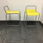 Image of CB2 Yellow & Silver Bar Stools - A Pair