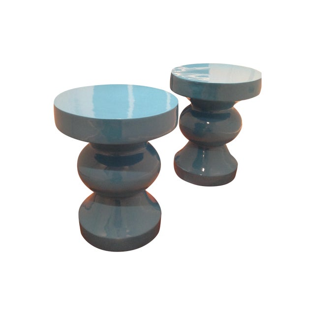 Blue Side/Occasional Tables - Pair - Image 1 of 3