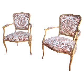 French Antique Carved Armchairs - A Pair