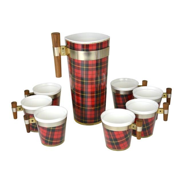 Image of Vintage Tartan Cocktail Set - Set of 8