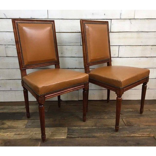 Image of Antique Louis XVI Leather Upholstered French Country Chairs - A Pair