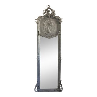 Grey Relief Beveled Floor Mirror