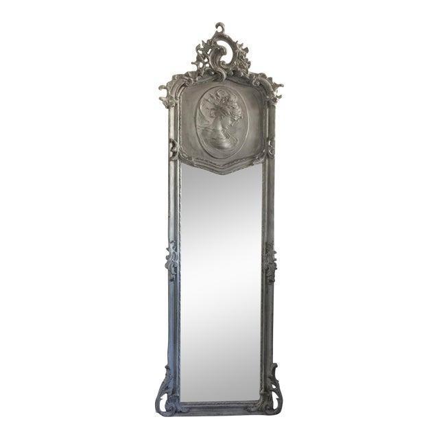Grey Relief Beveled Floor Mirror - Image 1 of 7
