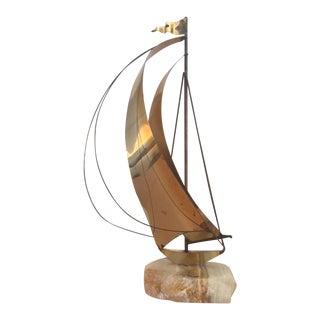 Vintage Mid-Century Modern DeMott Brutalist Brass Sailboat