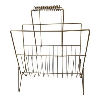 Mid-Century Brass Wire Magazine Rack