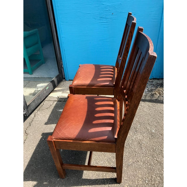 Stickley Mission Cottage Oak & Leather Side Chairs - A Pair - Image 7 of 11