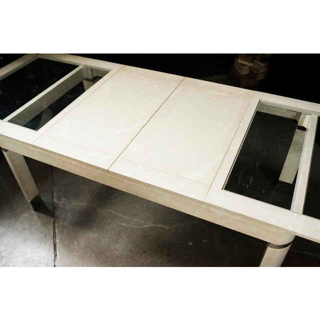 Modernist Lacquered Ivory, Chrome & Glass Extendable Dining Table in the Style of Steve Chase - Image 6 of 11