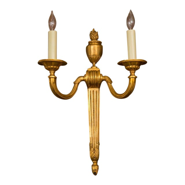 Image of Classical French Neoclassical Style Gilt Bronze Sconce Pair