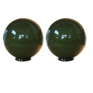 Green Glass Globes Pendant Lights - A Pair