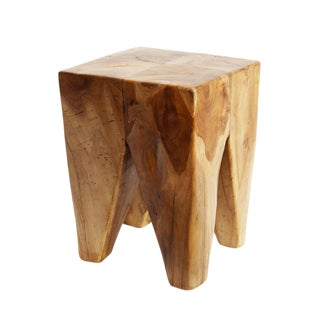 Square Teak Root Cube Stool
