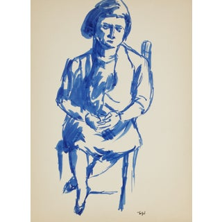 Seated Figure in Blue Ink