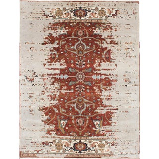 """Distressed Hand-Knotted Persian Rug - 8'11""""x11'8"""""""