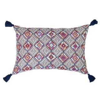 Navy & Red Handwoven Guatemalan Pillow