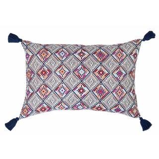 Navy & Red Handwoven Guatemalan Pillow