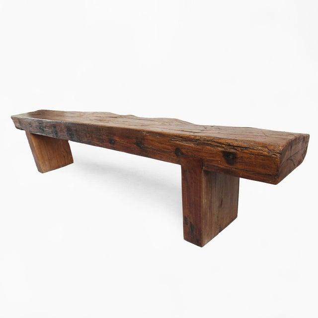 Old Teak Slab Bench - Image 4 of 5