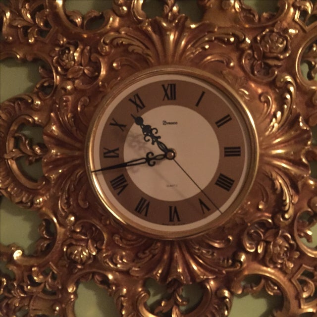 Mid-Century Modern Syroco Gilt Wall Clock - Image 3 of 7