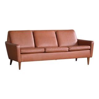 Danish Mid-Century Sofa In Cognac Leather
