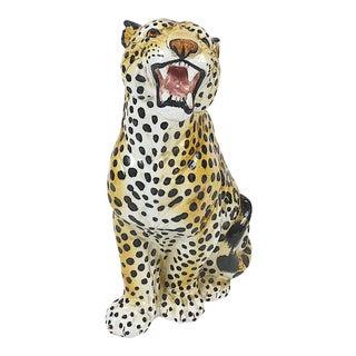 Vintage Italian Ceramic Leopard Sculpture