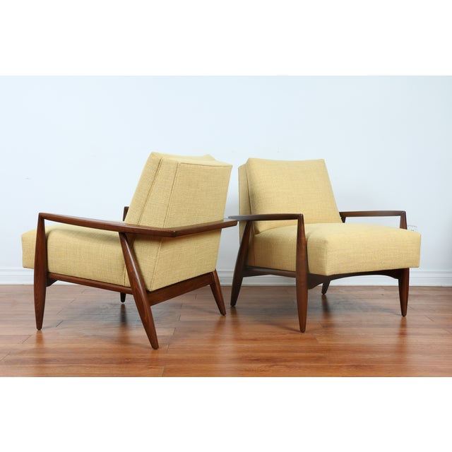 Image of Mid-Century Ecru Lounge Chairs - A Pair