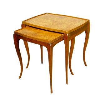 Burlwood Nesting Tables by Baker - Pair