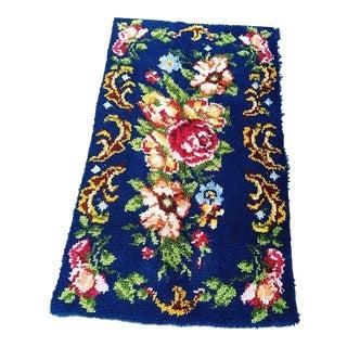 Vintage Floral Latch Hook Rug - 2′5″ × 4′4″